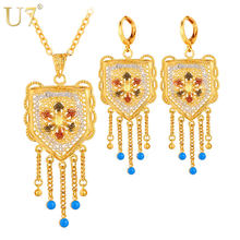 U7 Wedding Accessories Tassels Long Necklace Set Gold Color Trendy Party Long Earrings Indian Jewelry Set For Women S631(China)