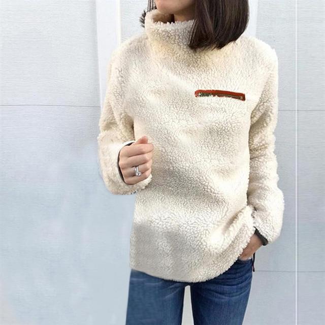 951ab6f3e3 Fashion Turtleneck Sweater Women Pullover Tops Fluffy Fleece Warm Autumn  Winter Long Sleeve Ladies Zip Solid