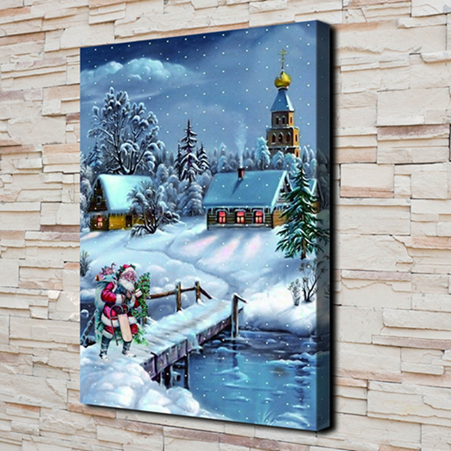 Hd Canvas Print Home Decoration Living Room Bedroom Wall Pictures Art Painting Christmas Forceful H2139 Christmas Gift Santa Claus Snow Home Decor Painting & Calligraphy