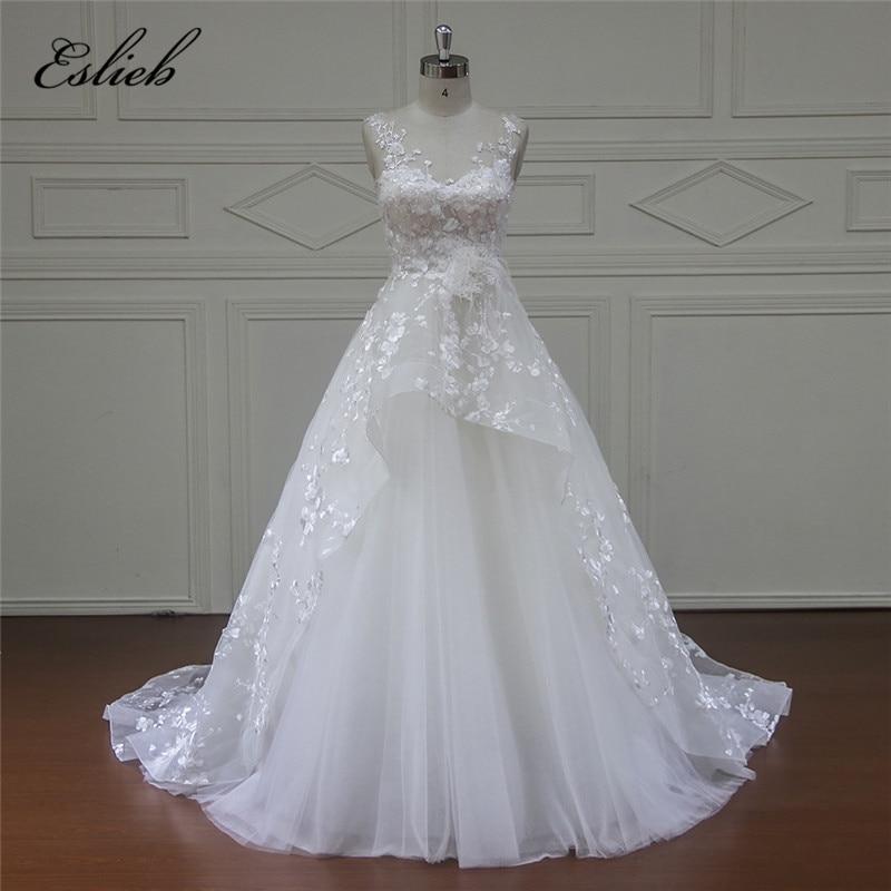Eslieb الراقية vestido دي noiva كاب كم الأميرة - فساتين زفاف