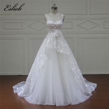 Eslieb High-end Vestido De Noiva Cap Sleeve Princess Wedding Dresses 2018 Appliques Appliques Beaded Lace Bridal Gown Plus Size