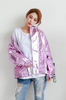 2018 Spring Autumn New Metal Bomber Jacket Pink Silver Hologram Coat Punk Hip Hop Loosen Casual Women Men Outwear Chaqueta Mujer
