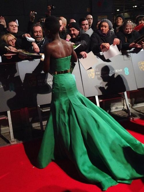 Lupita Nyong O Emerald Green Strapless Celebrity Dress Baftas 2017 Red Carpet Prom Gowns In Inspired Dresses From Weddings Events On