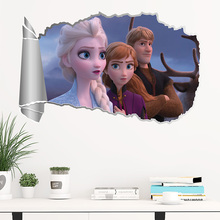 Disney Kristoff Elsa Anna Princess Wall Stickers For Home Decoration Kids Room Decals 3D effect Anime Mural Art Frozen2 Poster