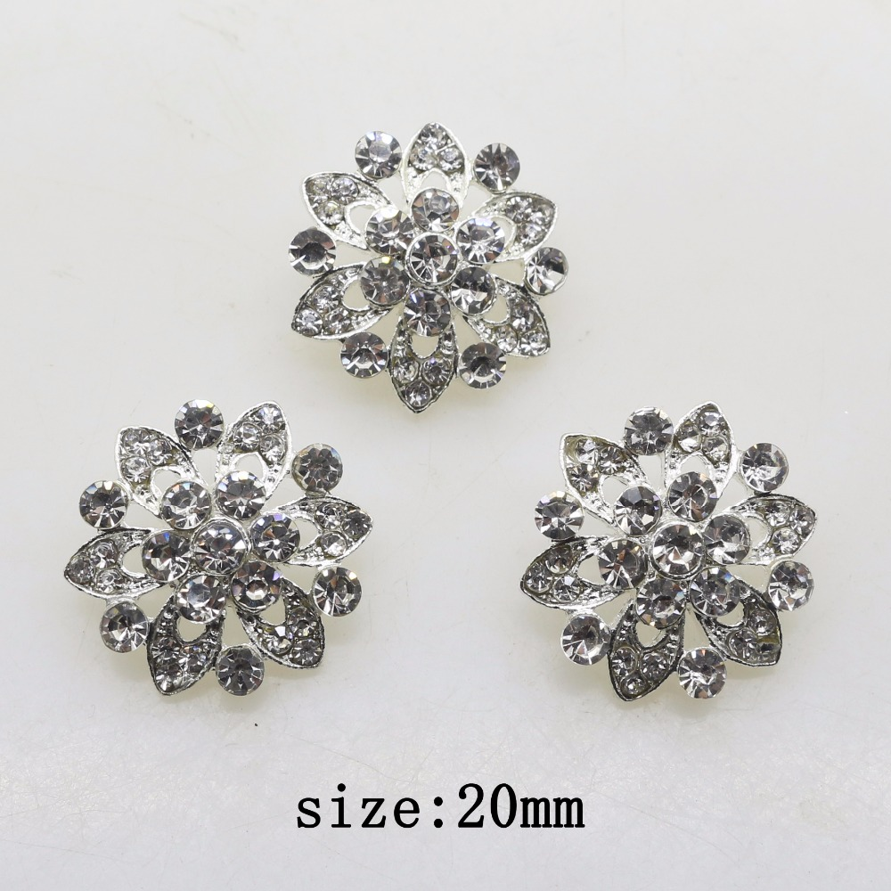 Accessories For Jewelry 2019 Fashion 10pcs 20mm Alloy Flowers DIY Clothing Accessories Rhinestone Handmade Craft Bride Headdress