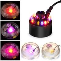 Mini Color Changing 12 LED Mist Maker Fogger Water Circulation Fountain Pond Fog Atomizer Air Humidifier Aquarium