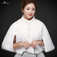 LZP249 New Winter Style White Fur Imitation Winter Wedding Coat