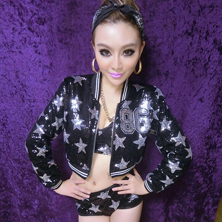 06207c03b8 Buy Online Sexy Hip Hop Dance Costumes Nightclub Singer DJ Jazz Sequin  Halter Dress Suit For Sale at AliExpress