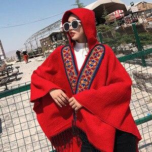 Image 4 - Mingjiebihuo プラスサイズ気質女性高品質ニット快適 warm 厚いスカーフ女性タッセルセレブスタイルポンチョ