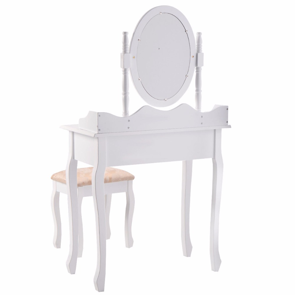 Goplus Black White Vanity Wood Makeup Dressing Table Stool Set Modern Dressers For Bedroom With Swivel Mirror And Hw52600 In From Furniture