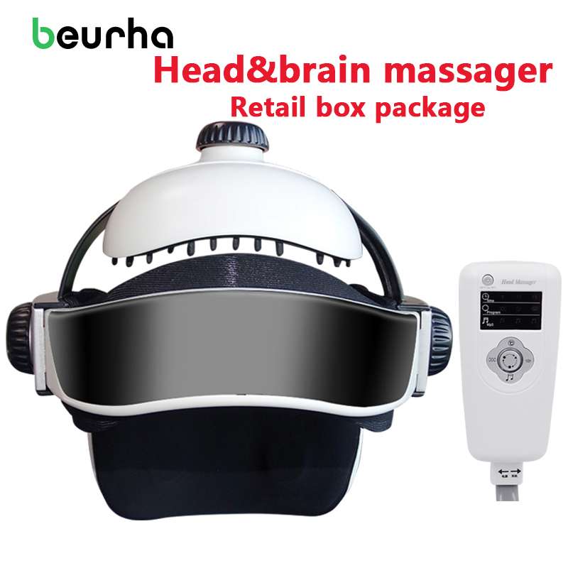 Beurha Electric Brain Massage Head Massager Instrument Helmet With Music Adjustable Size Head Massage And Relaxation Health Care