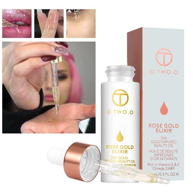 Imprimación de labios de marca maquillaje hidratante fácil de absorber oro 24 K Rosa aceite esencial Base de maquillaje
