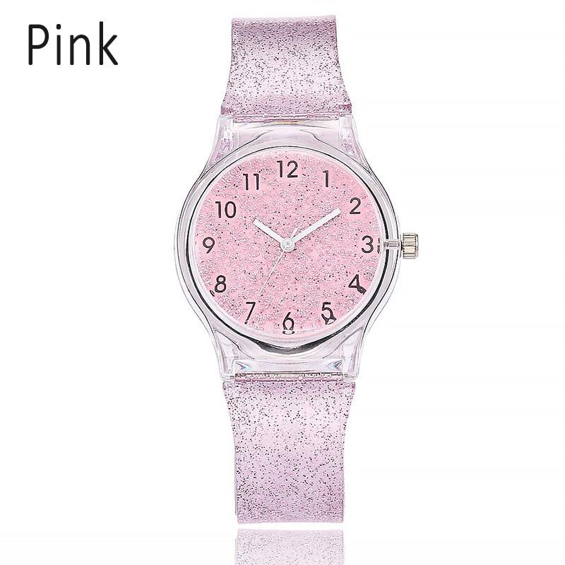 Newly Women Shiny Quartz Watch Silicone Strap Glitter Round Dial Girl Casual Wristwatch M99