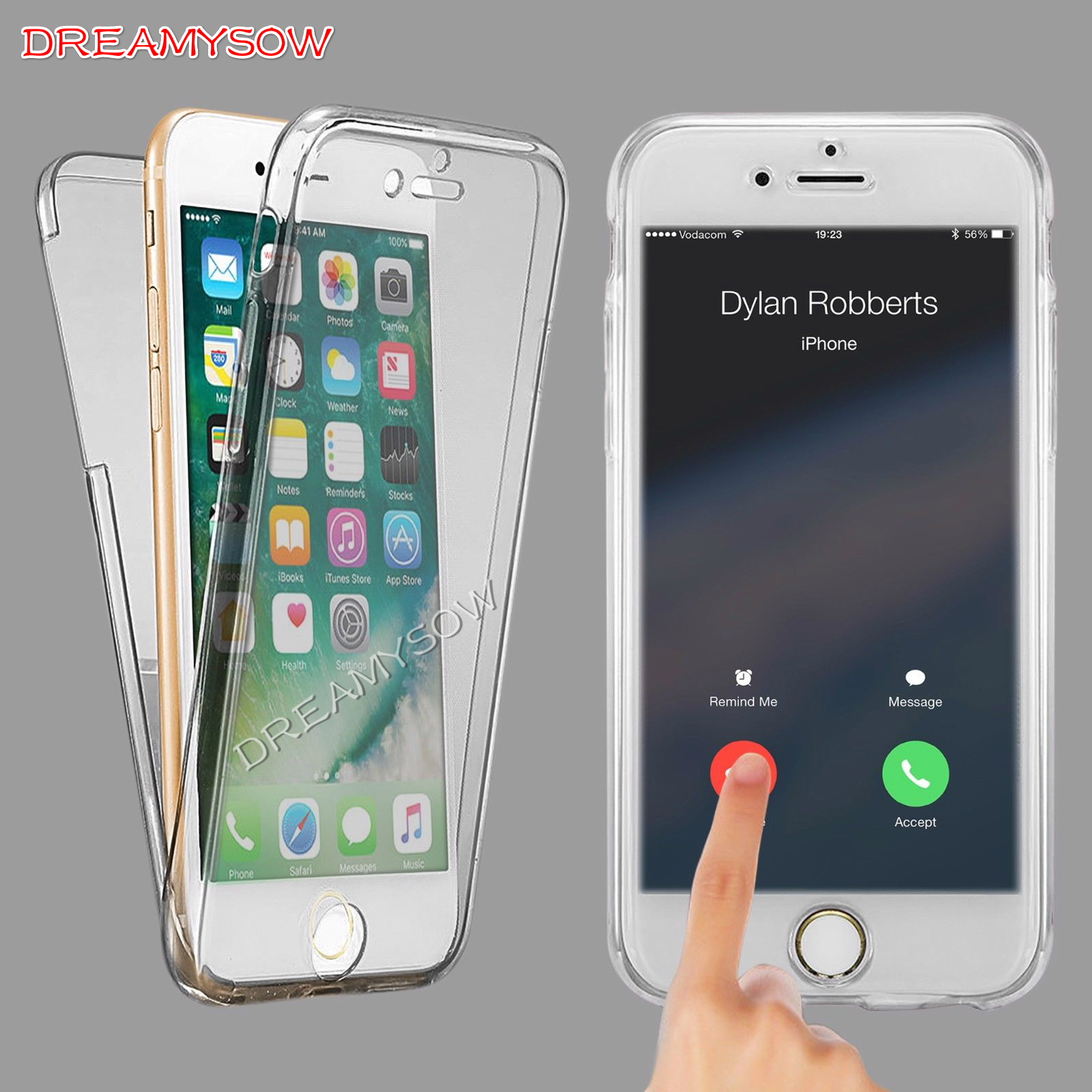 Front +Back Touchable Cover For iPhone 8 8Plus X XS XR XS max 7 7 Plus 6S Plus 5S Transparent Full Body Protective Soft TPU Case iphone