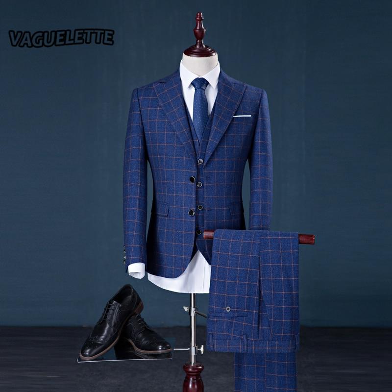 Aliexpress.com : Buy (Blazer Pants Vest) Tweed Plaid Suit Mens ...