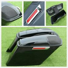 Motorcycle Stretched Extended Saddlebags + Speaker Grill For Harley Touring FLT FLHT 2014-2019 17 16