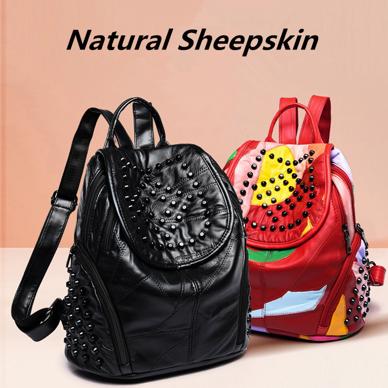 Popular Rock Style Natural Sheepskin Women Backpack Fashion Rivets Women's Travel Bags Casual Patchwork Genuine Leather Bag