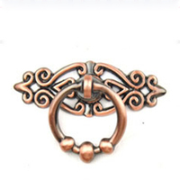 10pcs Red Bronze Zinc Alloy Handle Rural Style Vintage Puckering Rings Circle Drawer Knobs Cabinet Pulls