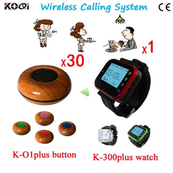 Wireless Waiter Call System With 1 Wrist Watch +30 Bell Buttons
