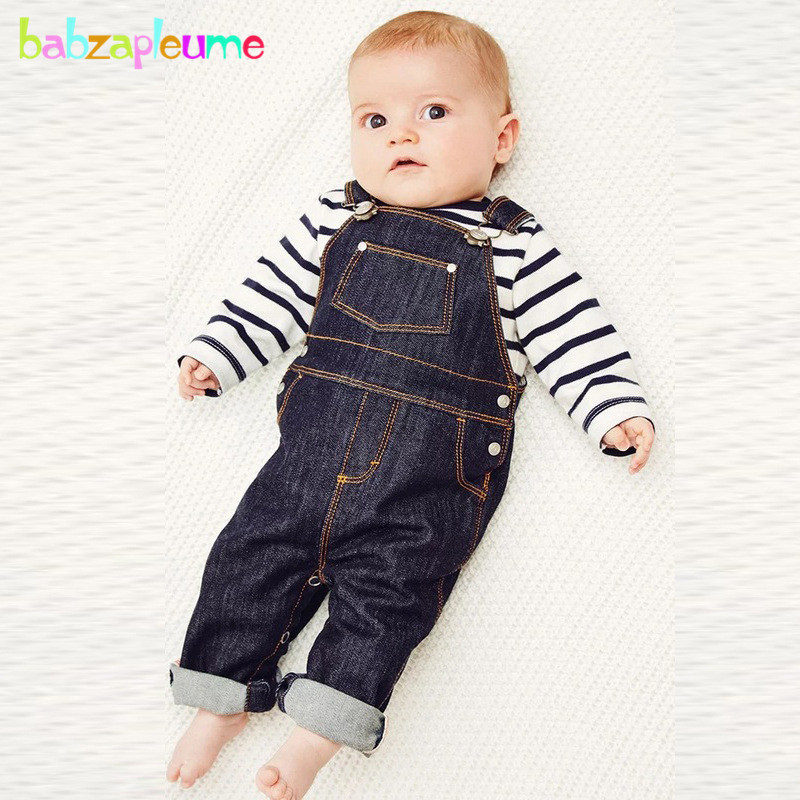 0-24Months/Spring Autumn Newborn Outfits Baby Boys Clothes Set Stripe T-shirt+Denim Overalls Fashion Infant Clothing 2PCS BC1374