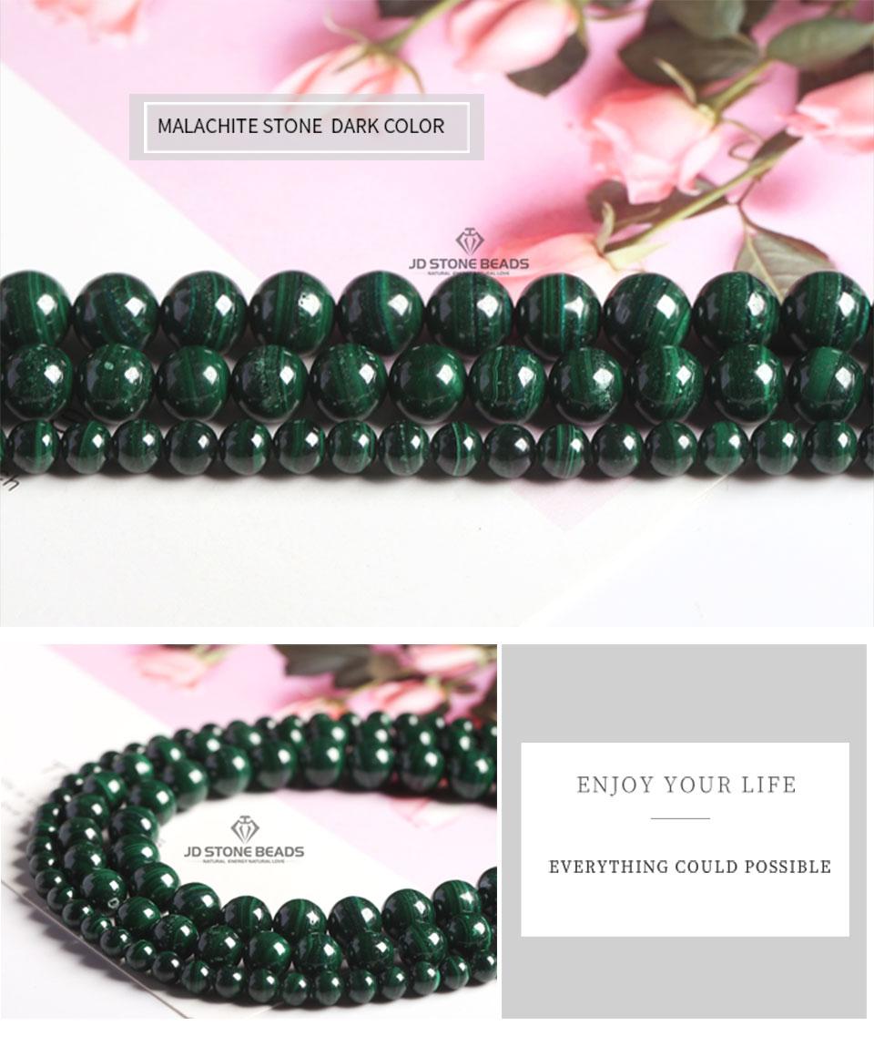 HTB1GeOWXvjsK1Rjy1Xaq6zispXad Natural Malachite Beads Dark Green Color 4 6 8 10mm Pick Size Semi-precious stones Accessories For Jewelry Making
