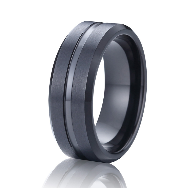 Best Men Jewelry Black Tungsten Ring Unqiue Wedding Band