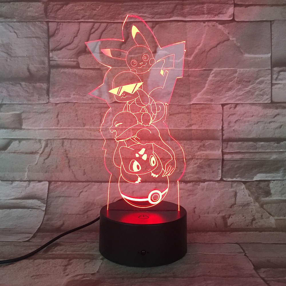 Pokemon Go Pikachu Figure LED Nightlight for Children Room Decor Battery Night Light Holiday Present Bedroom Table Lamp Pikachu in LED Night Lights from Lights Lighting