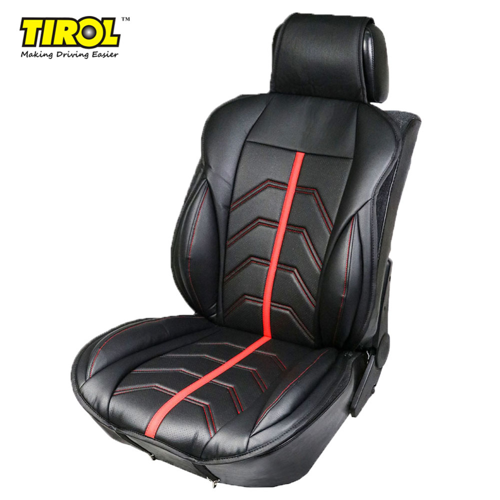 TIROL 1 Pack PU Leather Universal Front Single Car Seat Covers Seat Cushion Black with Red for Crossovers SUV Sedans T24522b