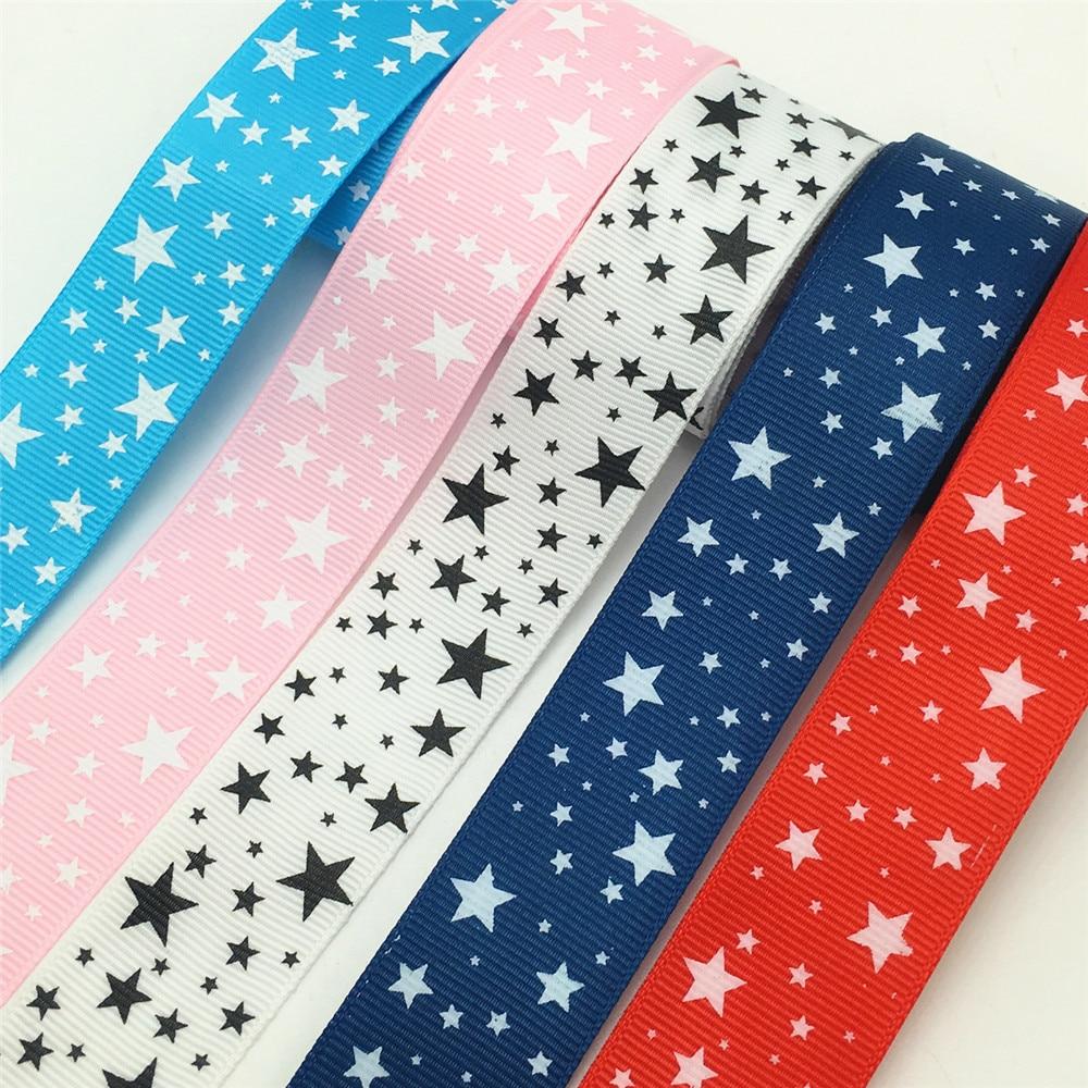 Оптовая продажа 5 ярдов 1 дюймов мм 25 мм широкий с принтом звезд корсажная лента бант для волос/Рождество/свадьба DIY Вышивание Craft