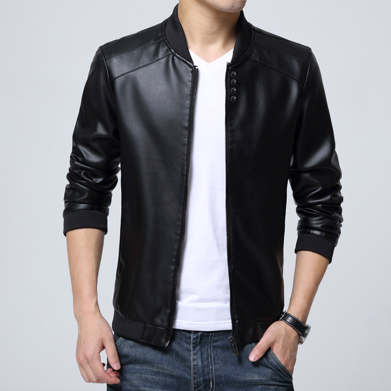 New Fashion Pu Leather Jacket Men Black Red Brown Solid