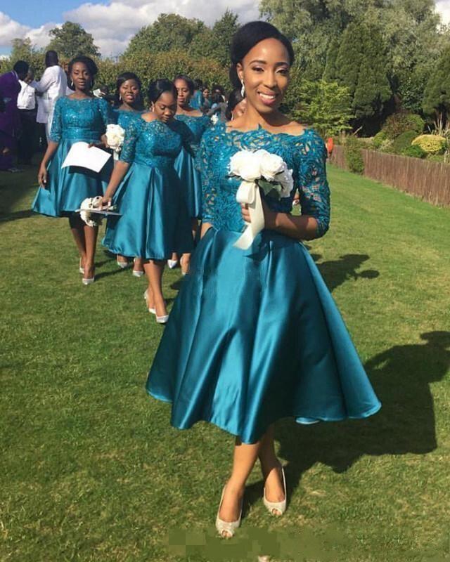 2018 nouveau pas cher élégant court robes de demoiselle d'honneur pour les mariages bleu sarcelle Satin dentelle demi manches thé longueur grande taille robes formelles