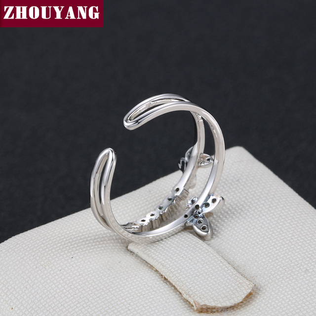 2016 New Butterfly AAA CZ  Rose/White Gold Plated Fashion Resizable Ring Jewelry For Women Party ZYR349-5 ZYR350-1