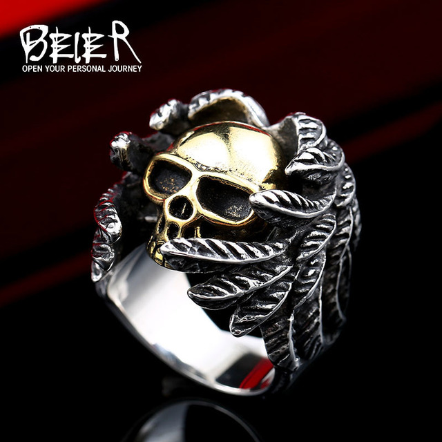 Beier 316L Stainless Steel ring  biker Ring skull Man's special copper fashion jewelry  BR8-365