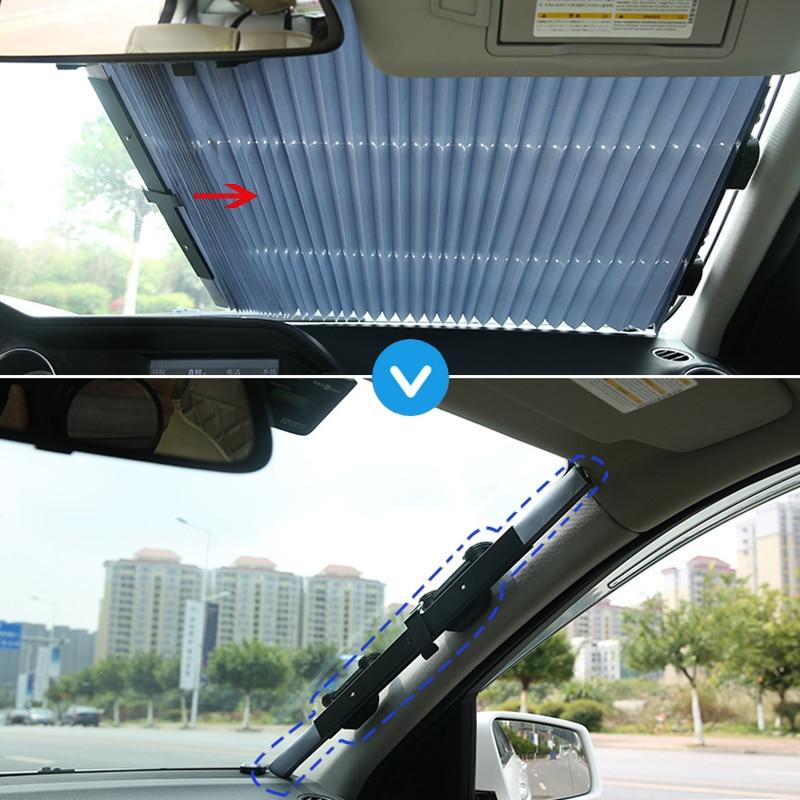 Car Front Windshield Sunshade Rear Window Sun Visor UV Protection Curtain Retractable Foldable Windshield Sunshade Cover|Windshield Sunshades| |  - title=