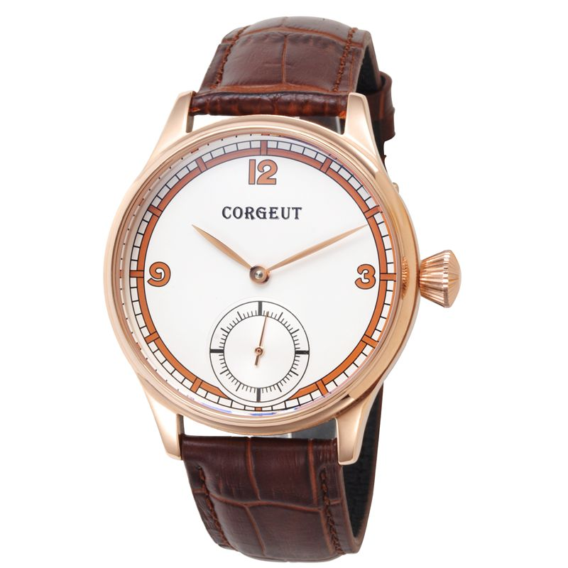 лучшая цена Crogeut 44mm Case White Dial Rose Gold case with gold hands mechanical leather strap Hand Winding 6498 Men water resistant watch