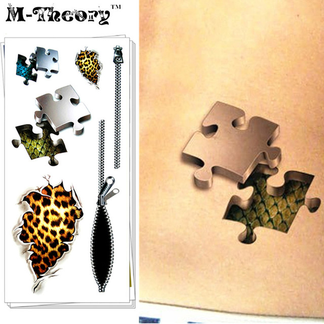 M-Theory Temporary 3D Tattoos Makeup Body Arts Zipper Flash Tatoos Stickers 19x9cm Waterproof Tatto Bikini Swimsuit Makeup Tools