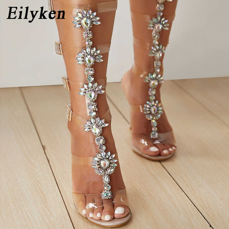 Eilyken 2019 PVC Transparente Sandalias Woman Shoes Open Toe High Heel Shoes Women Summer Party Gladiator Sandals Shoes size 42