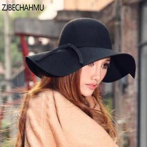 ZJBECHAHMU Vintage hats For Women Autumn Fedoras hat jazz 1fd7cad6cda2