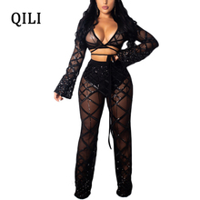 QILI Mesh Sequins Sexy Jumpsuits For Women Plaid Long Sleeve V-neck Patchwork Two Piece Set Wide Leg Jumpsuit Romper Club Wear
