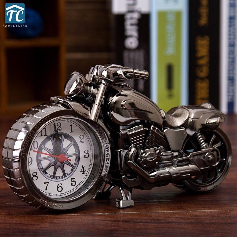 Creative Retro Motorcycle Model Alarm Clock Desktop Clock Home Decor Kids Gift