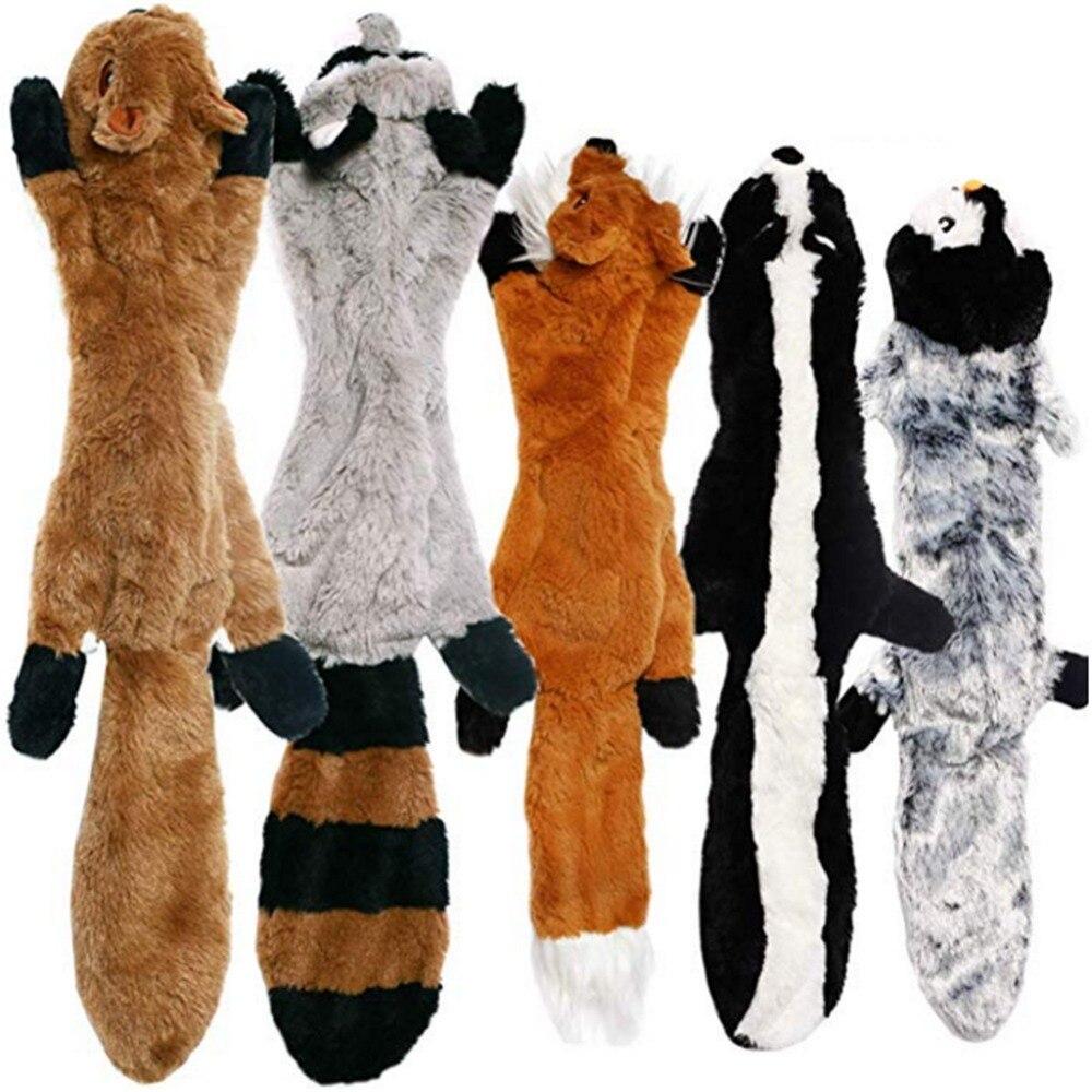 2019 nuevos juguetes lindos de peluche squeak mascota Lobo conejo animal de peluche perro de juguete para masticar con chirrido silbido juguetes de perro ardilla