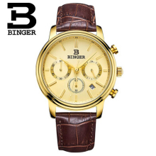Switzerland Brand Men Sports Stop Watches Binger Quartz Fashion Watch Outdoor Leather Wristwatches Relogio Masculino