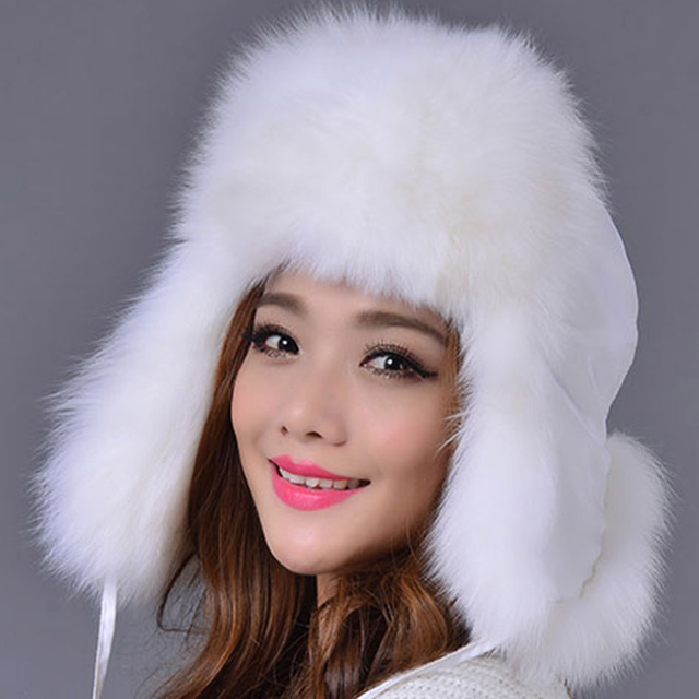 Bomber Fox Fur Hat for Women 2016 Fashion Good Quality Female Ear Protector Cap Warm Winter Fur Hat with Waterproof Cloth
