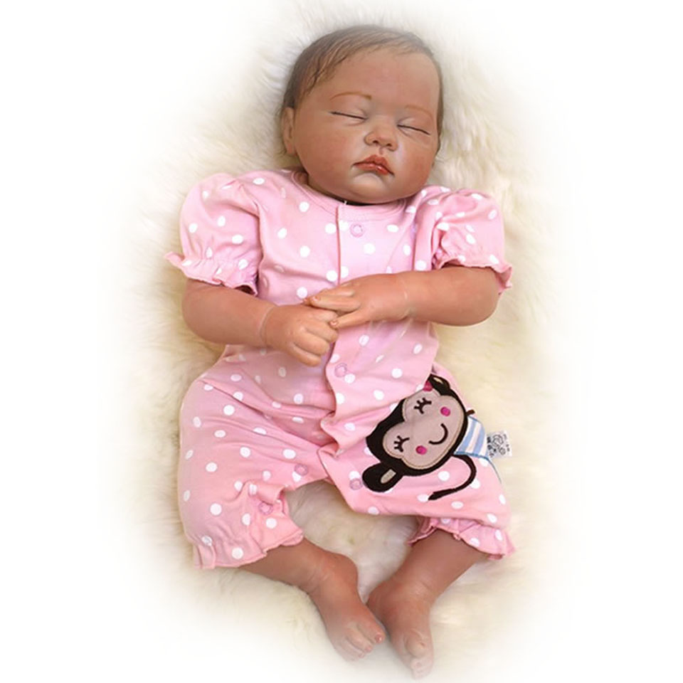все цены на Lifelike Close Eyes Reborn Baby Dolls 20 inch Realistic Soft Silicone Babies Dolls with Hair Bonecas Girl Birthday Xmas Gifts онлайн