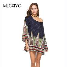 MLCRIYG Women Vintage Ethnic Dress Baroque Floral Print Summer 2018 Casual O Neck Loose Mini Dresses