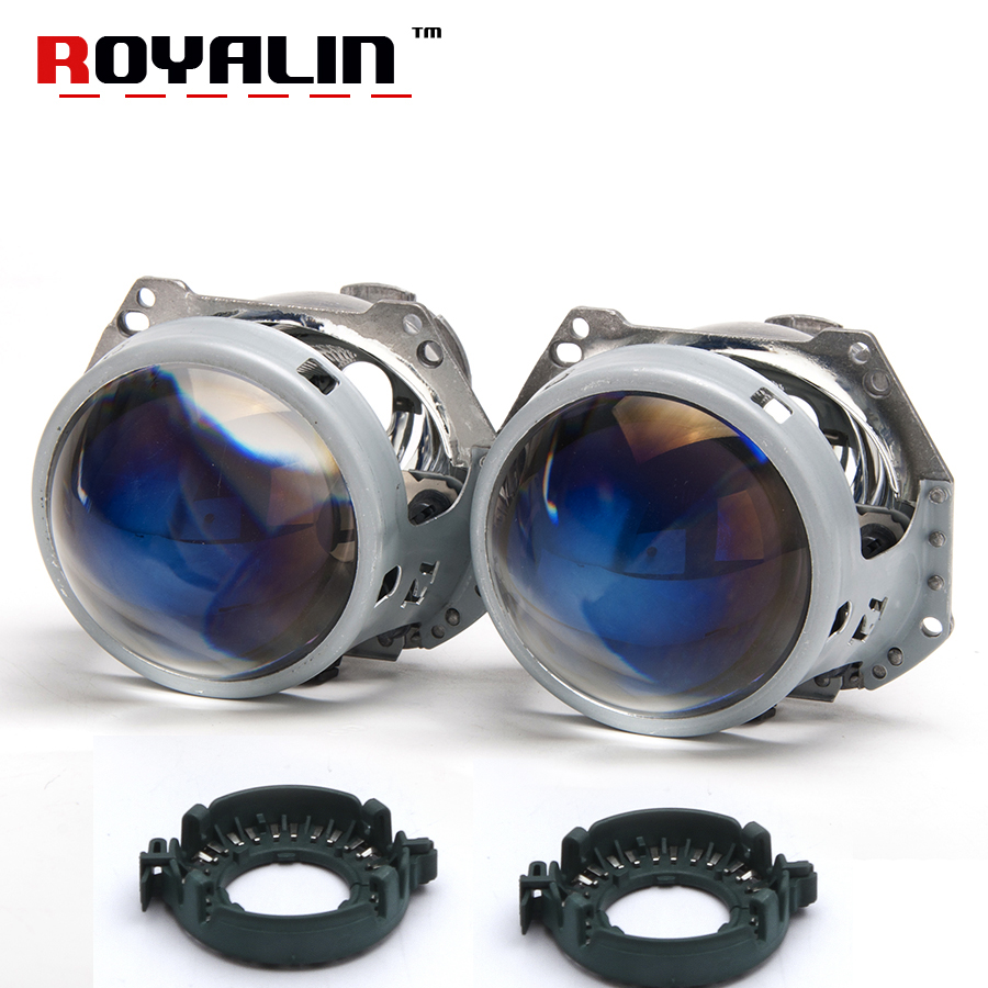 ROYALIN Upgrade Hella 3/5 G2 Bi Xenon Projector Lens Blue Film Coating 3.0 Aluminum Head Lamp Car Styling Use D1S D2S D3S D4 HID taochis 3 0 inch bi xenon hella projector lens hid d1s d3s d4s d2s shroud devil angel eyes head lamp upgrade demon eye