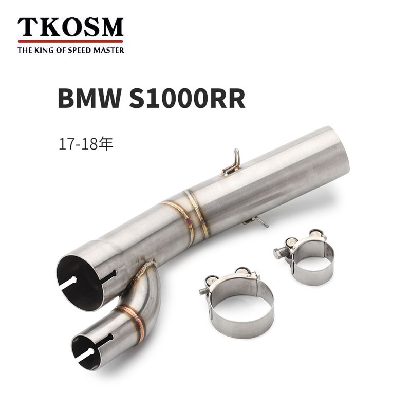 TKOSM Motorcycle <font><b>Exhaust</b></font> Muffler System Middle Pipe Parts Motorbike <font><b>Exhaust</b></font> For <font><b>BMW</b></font> S1000RR S1000 RR S1000R <font><b>S1000XR</b></font> 2018 2017 image
