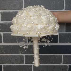 Image 5 - WifeLai A New Ivory Cream Pearls Brooch Wedding Bouquets buque de noiva Bridal Wedding Bouquets Festival Flowers W3018 17