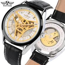 Fashion Skeleton Mechanical Watch for Men Black Leather Band Automatic-self-winding Watch for Women Creative Triangular Dial стоимость