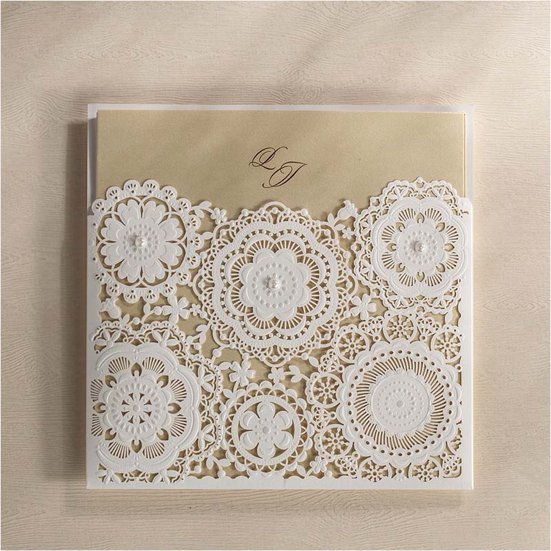 blanco de boda del cordn de lujo de corte lser tarjetas de invitacin nupcial